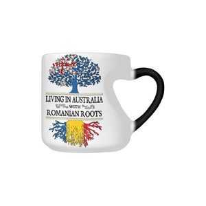 Living In Australia With Romanian Roots Heart Color Changing Mug
