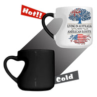 Living in Australia With American Roots Heart Color Changing Mug
