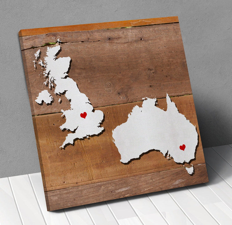 Uk Australia Map Personalized City Hearts Canvas Wall Art !