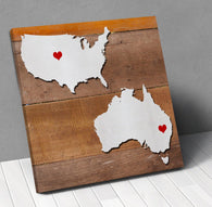 Australia Usa Map Personalized With City Hearts Canvas Wall Art !