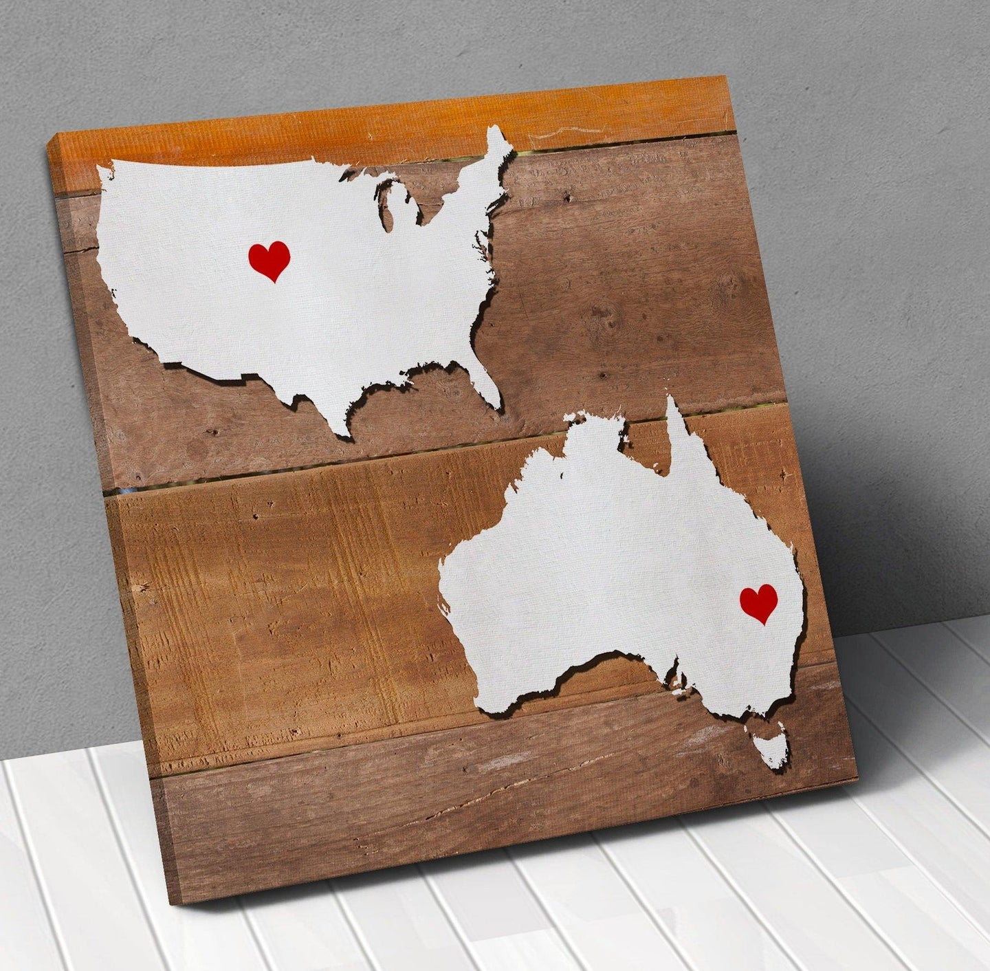 Personalized Usa Map.Australia Usa Map Personalized With City Hearts Canvas Wall Art