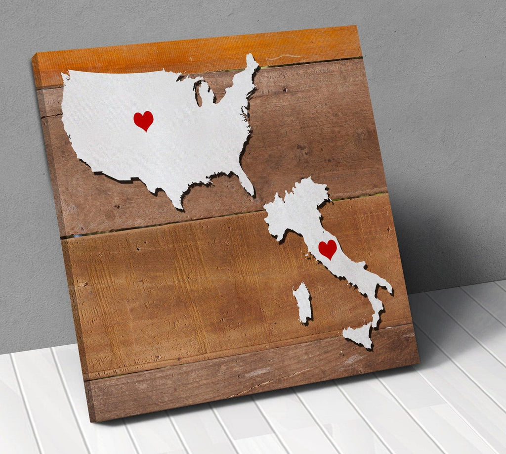 Italy Usa Map Personalized With City Hearts Canvas Wall Art !