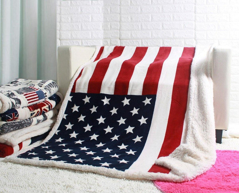 USA flag fleece blanket throw 130x160cm