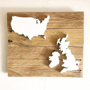 Map Sign USA and UK Personalized City Hearts