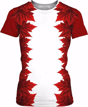Women's Canada Maple Leaf All Over Print T-shirt Special Edition !
