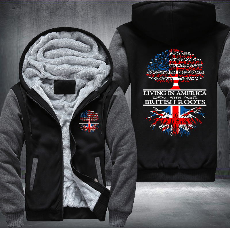 Living in America With British Roots Fleece Hoodies