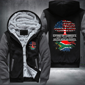 Living in America With South African Roots Fleece Hoodies !