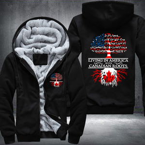 Living in America With Canadian Roots Fleece Hoodies