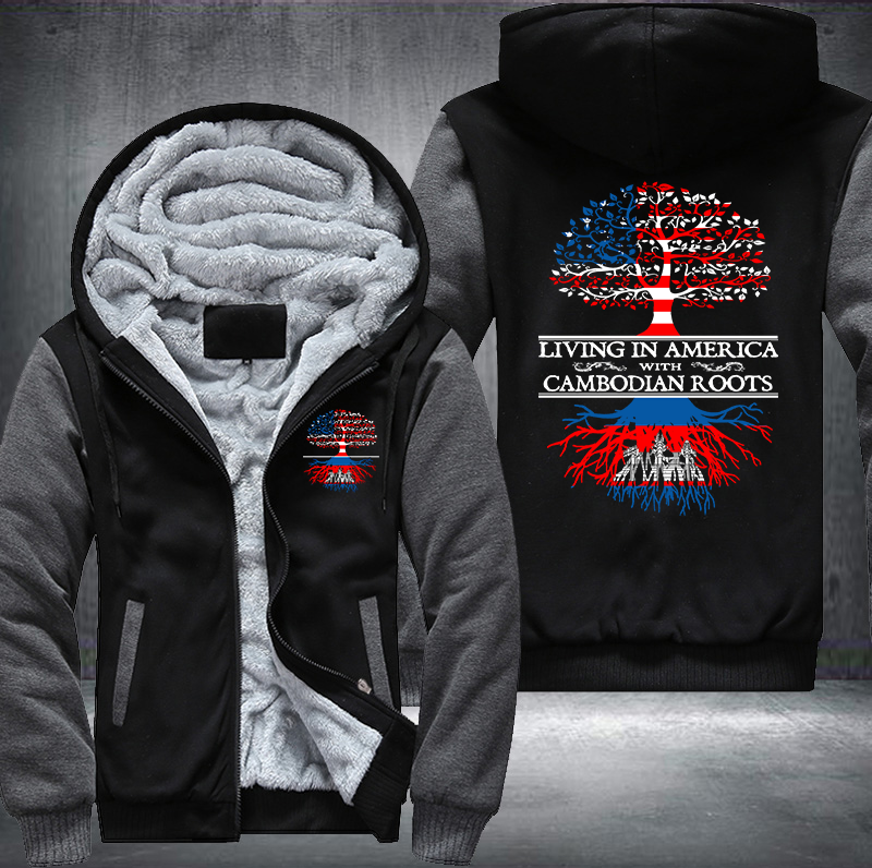Living in America With Cambodian Roots Fleece Hoodies !