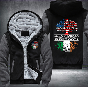Living in America With Irish Roots Fleece Hoodie !