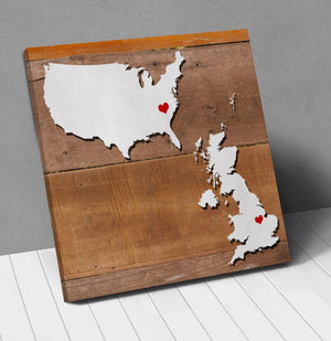 Uk Usa Map Personalized With City Hearts Canvas Wall Art !