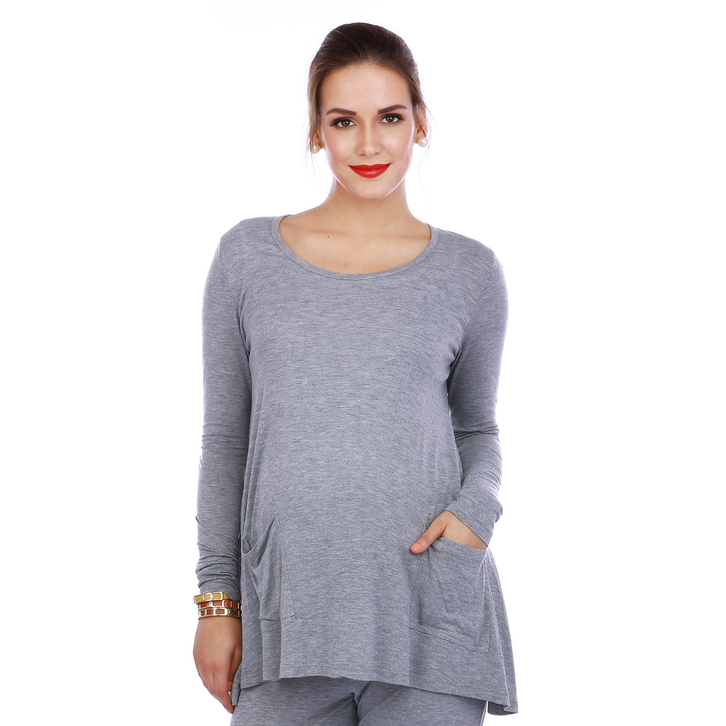 Maternity-Dresses-Jammy-Top-Grey-Melange
