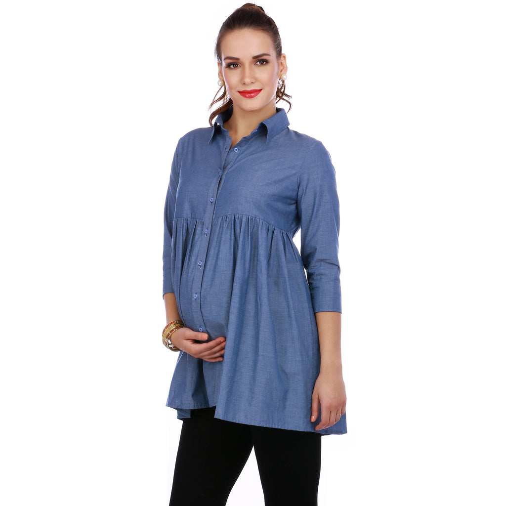 Maternity-Dresses-The-Blue-Bell-Shirt-Denim-Blue-Image2
