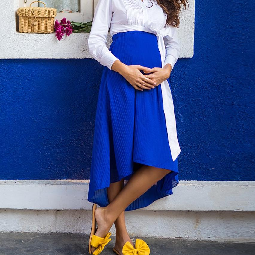 Maternity-Dresses-Cora-Pleat-Skirt-Electric-Blue-Image4