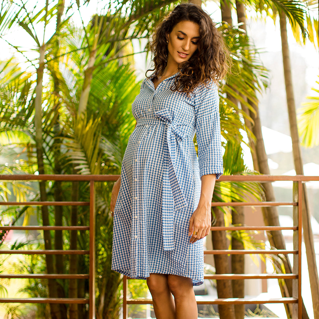 Maternity-Dresses-Cayo-Shirt-Dress-Blue-Gingham-Checks