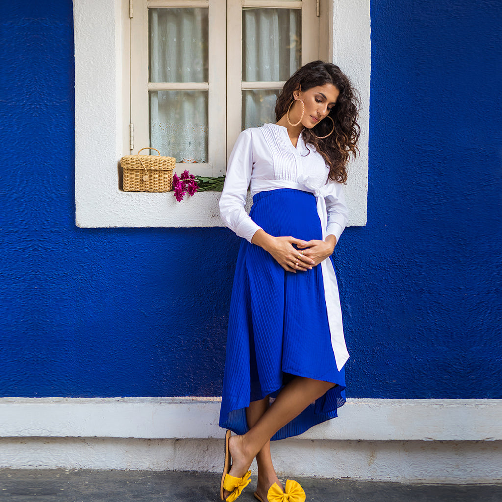 Maternity-Dresses-Cora-Pleat-Skirt-Electric-Blue