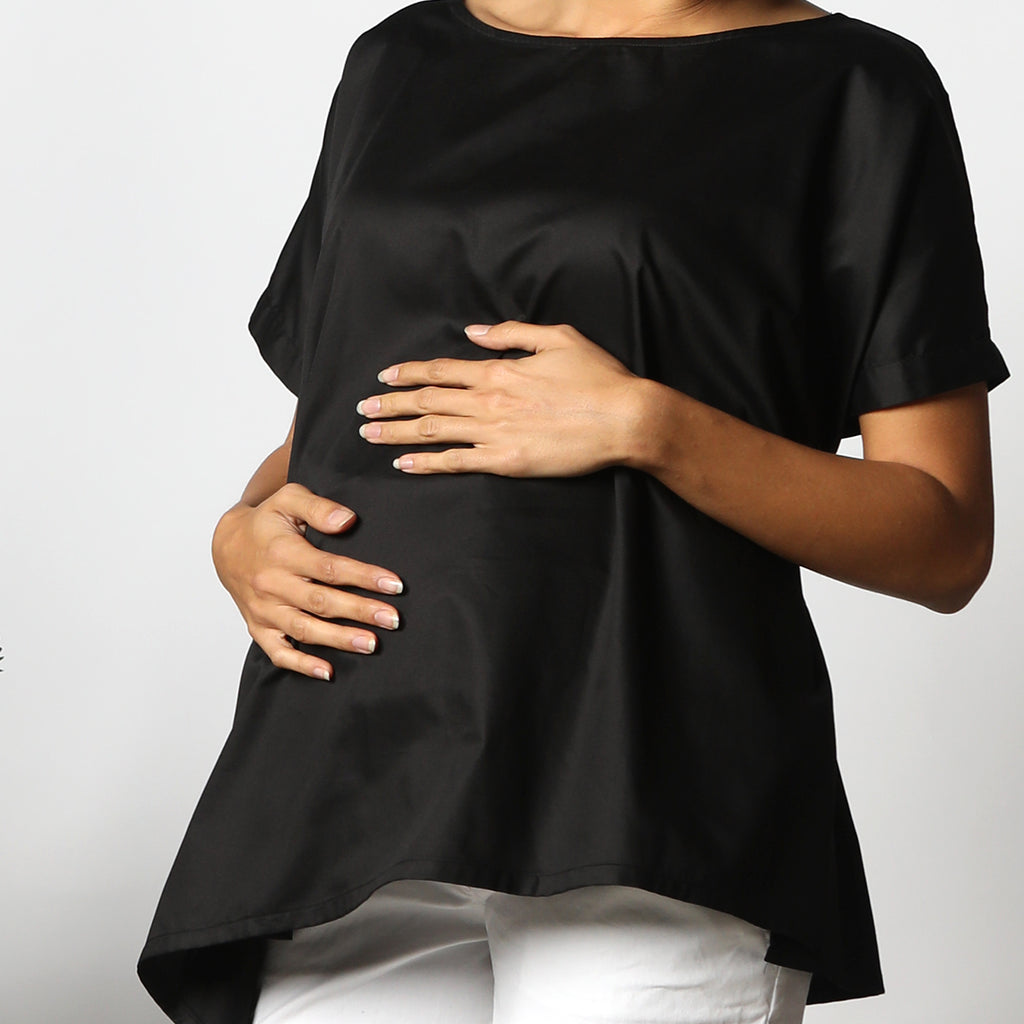 Maternity-Dresses-Kenzie-Poncho-Top-Classic-Black-Image2