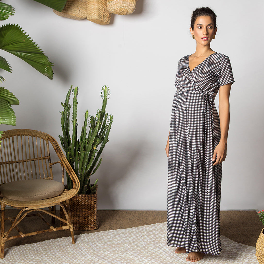 Maternity-Dresses-Chiara-Maxi-Wrap-Dress-Black-White-Checks-Image2