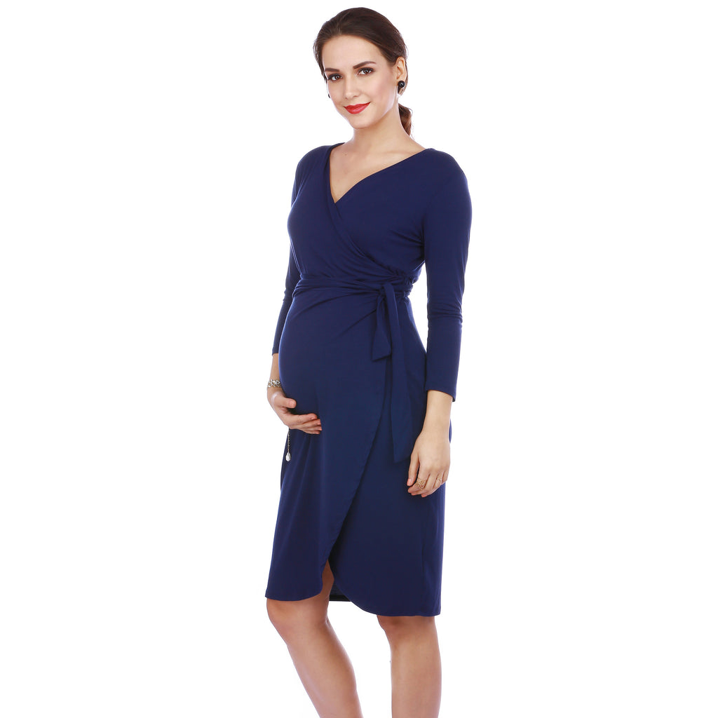 Maternity-Dresses-The-Petal-Wrap-Dress-Inky-Blue-Image3
