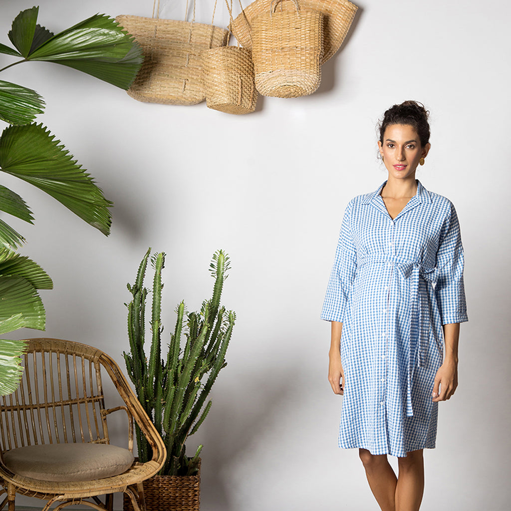 Maternity-Dresses-Cayo-Shirt-Dress-Blue-Gingham-Checks-Image2