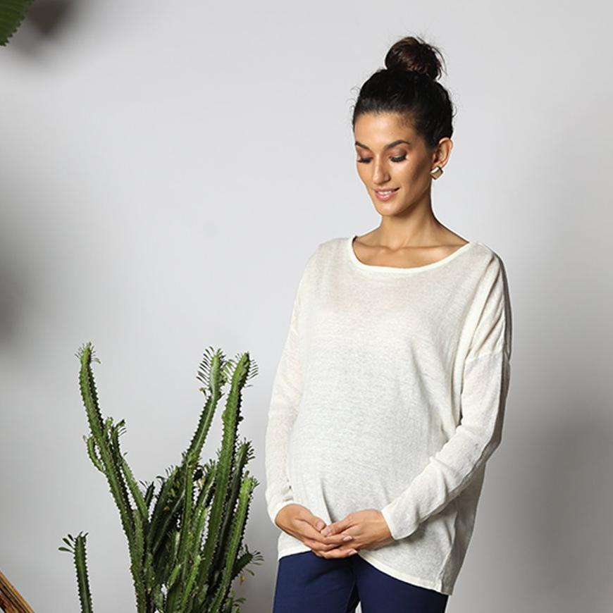 Maternity-Dresses-The-Gunner-Top-White