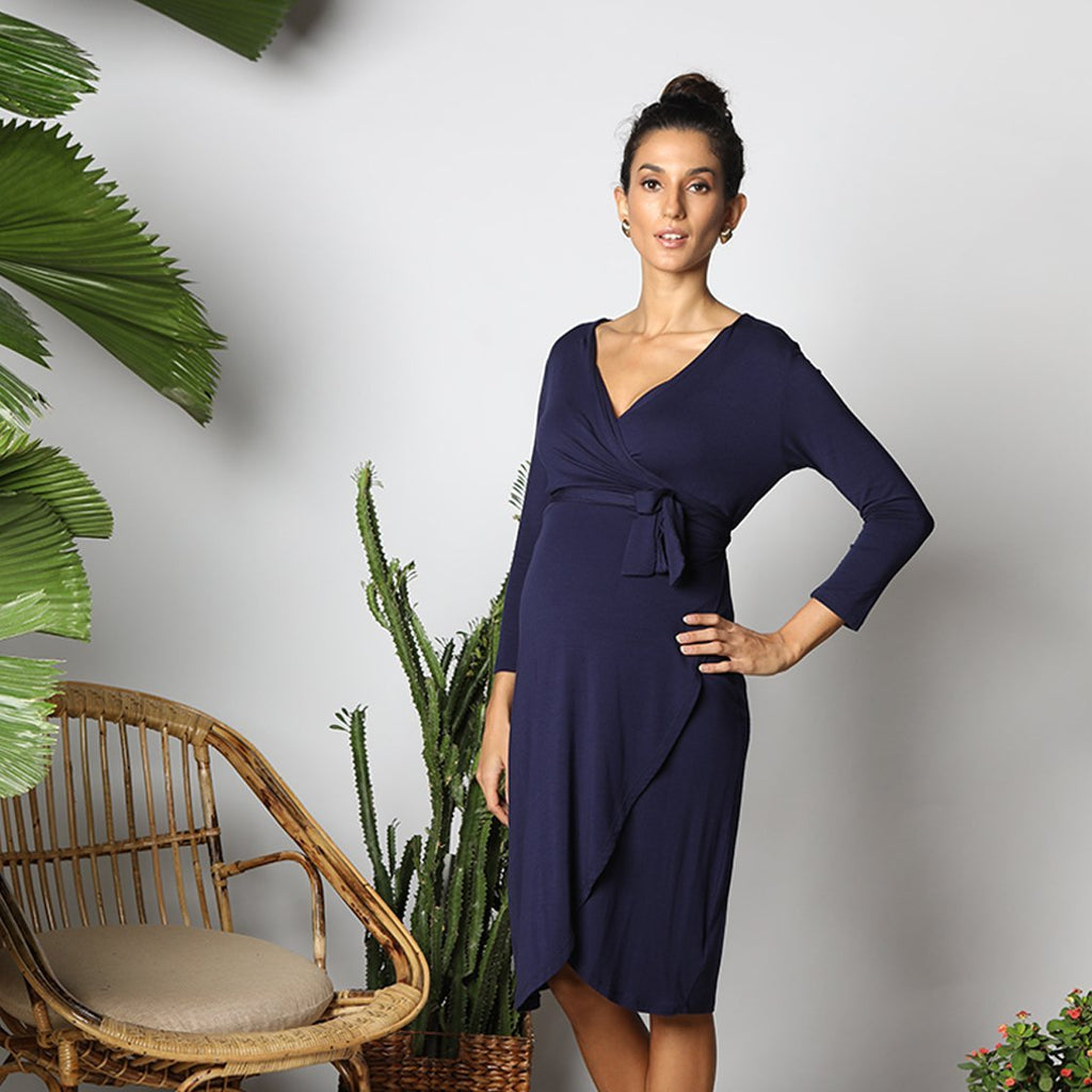 Maternity-Dresses-The-Petal-Wrap-Dress-Inky-Blue