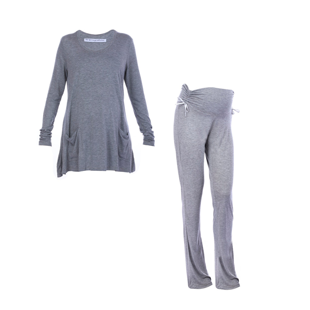 Maternity-Dresses-Jammy-Set-Grey-Melange-Image2