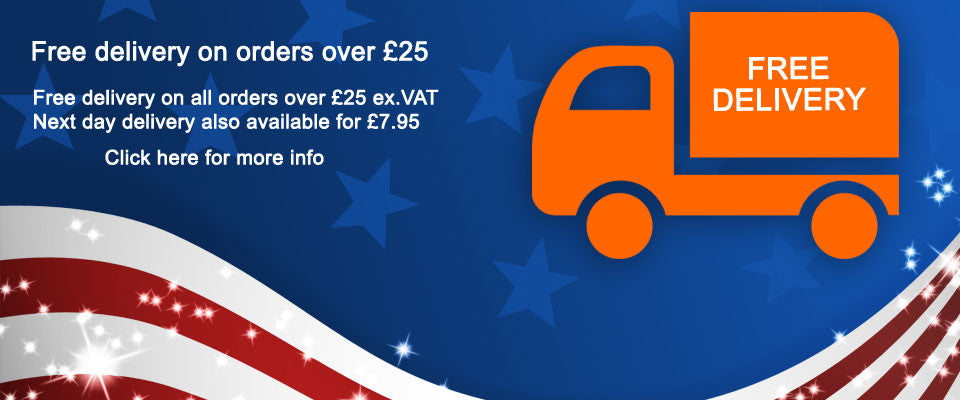 Free Delivery on all orders over £25 ex.VAT