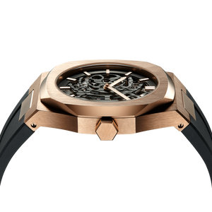 Skeleton Rubber 41.5 mm - Rose Gold