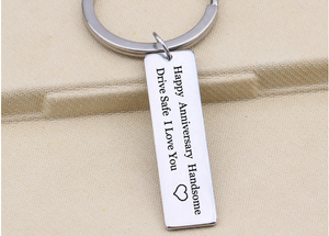 """Happy Anniversary Handsome"" Keychain"