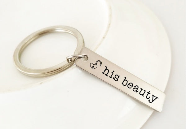 1 Pair His Beauty Her Beast Keychain