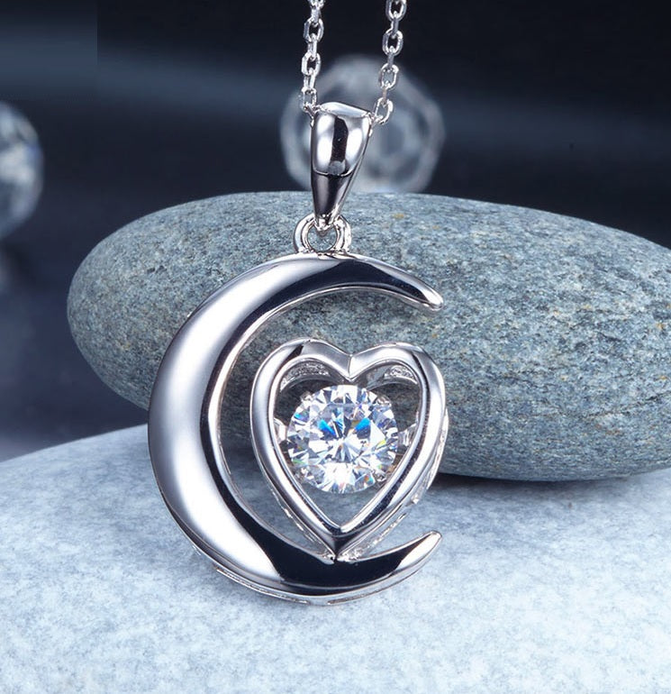 Dancing Stone Moon Heart Pendent