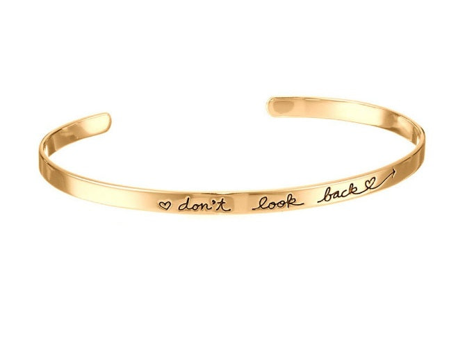 don't look back Open Cuff Adjustable Bracelet