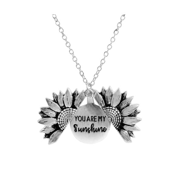 Sunflower Locket Necklace - You Are My Sunshine