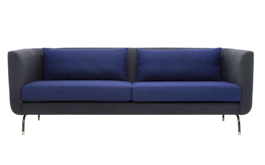 Alicia - Red Oak Furniture - Modern premium sofa for office lobby and lounge - dual tone blue black metal legs