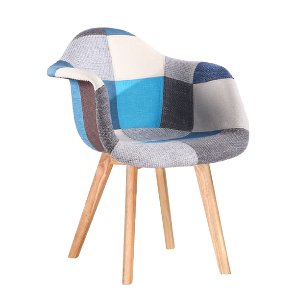 redoak gavin blue armchair patchwork accent chair cafeteria restaurant architects interior designers stylish modern designer mid-century eames beech wood sturdy wooden legs fabric cushion moulded comfortable ergonomic multi-color colorful lounge
