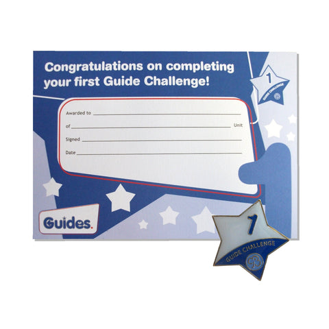 Guide Challenge 1 Metal Badge and Certificate