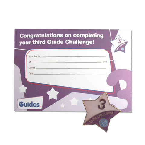 Guide Challenge 3 Metal Badge and Certificate