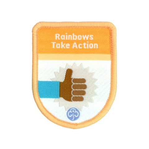 Rainbows Take Action Theme Award Woven Badge