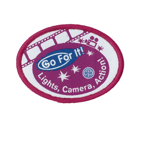 Go For It! Lights, Camera, Action! Woven Badge