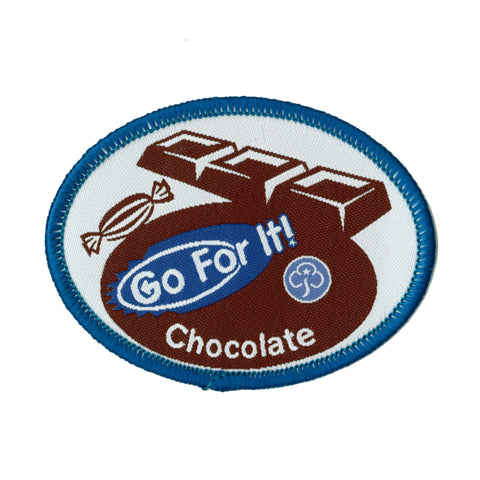 Go For It! Chocolate Woven Badge