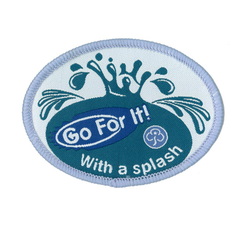 Go For It! With a Splash Woven Badge