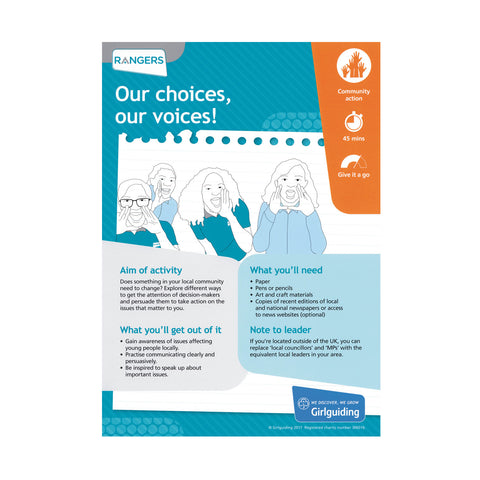 Rangers - Unit Meeting Activity Pack 4 - Our choices, our voices