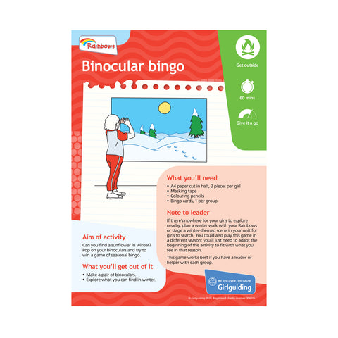 Rainbows Unit Meeting Activity Pack 9 - Binocular Bingo