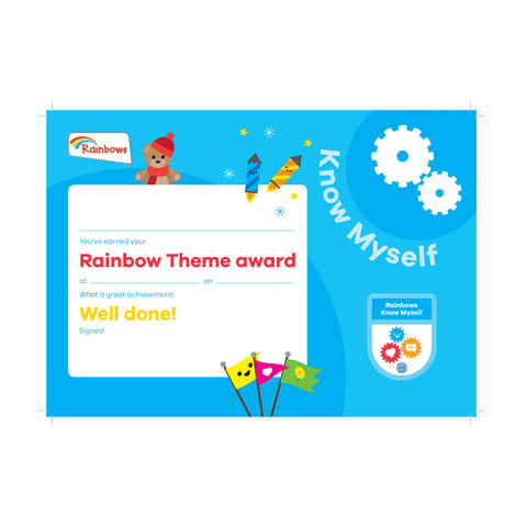 Theme Award - Rainbows Know Myself Certificate