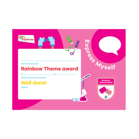Theme Award - Rainbows Express Myself Certificate