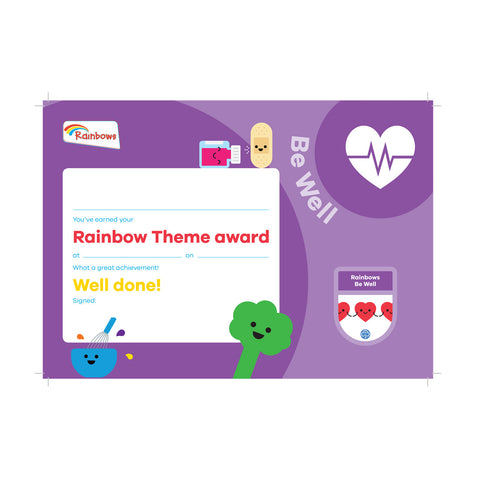 Theme Award - Rainbows Be Well Certificate