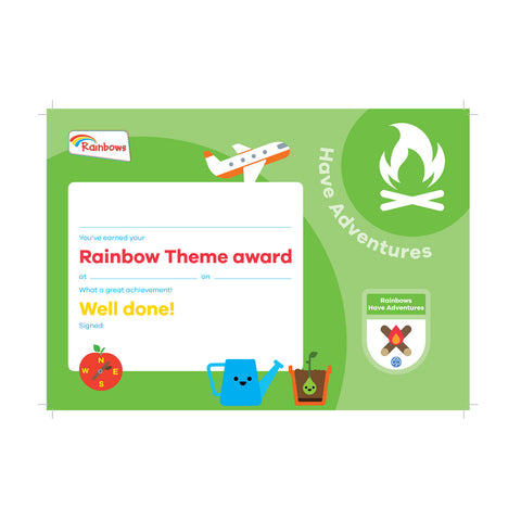 Theme Award - Rainbows Have Adventures Certificate
