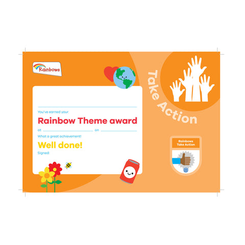 Theme Award - Rainbows Take Action Certificate