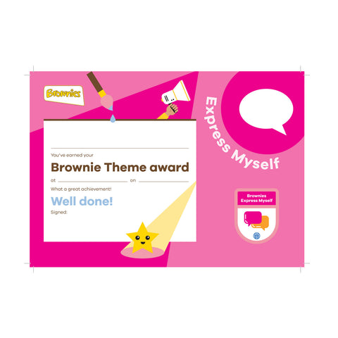 Theme Award - Brownies Express Myself Certificate